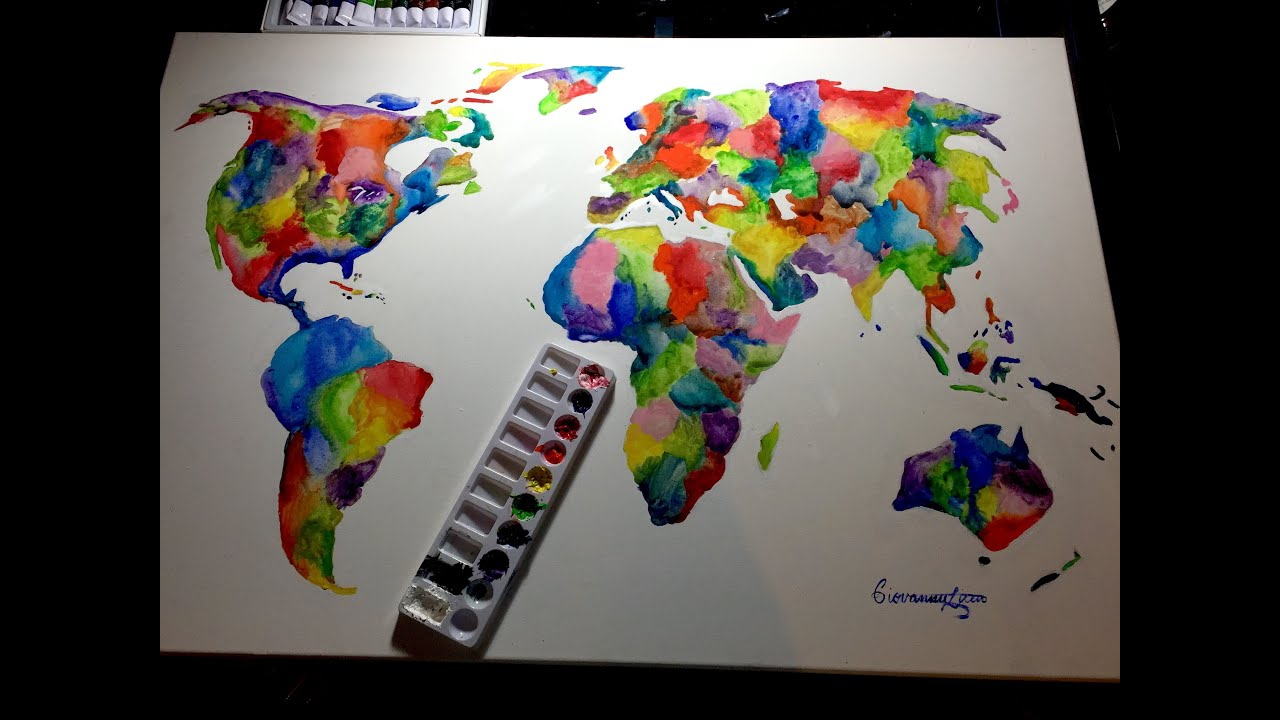 Colorful Watercolor World Map Painting