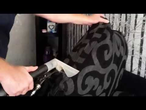 Sofa cleaning with hot water extraction machine