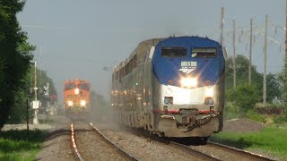 Amtrak with Horn Show and BNSF Freight Train with Gray KCSM Race