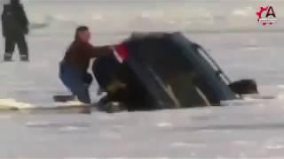 Как автомобили тонут на льду