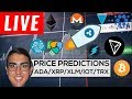 Price Predictions: Cardano ($ADA), Ripple ($XRP), Stellar ($XLM), IOTA ($IOT), Tron ($TRX), and More