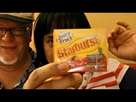 ASMR Chewing Juicy fruit Starburst with BF in USA ScorpioAnnYT