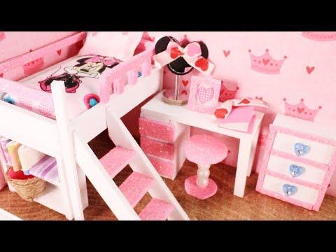 DIY Miniature Dollhouse - Disney Minnie Mouse Bunk Bed Room Table Chair Mirror and More!