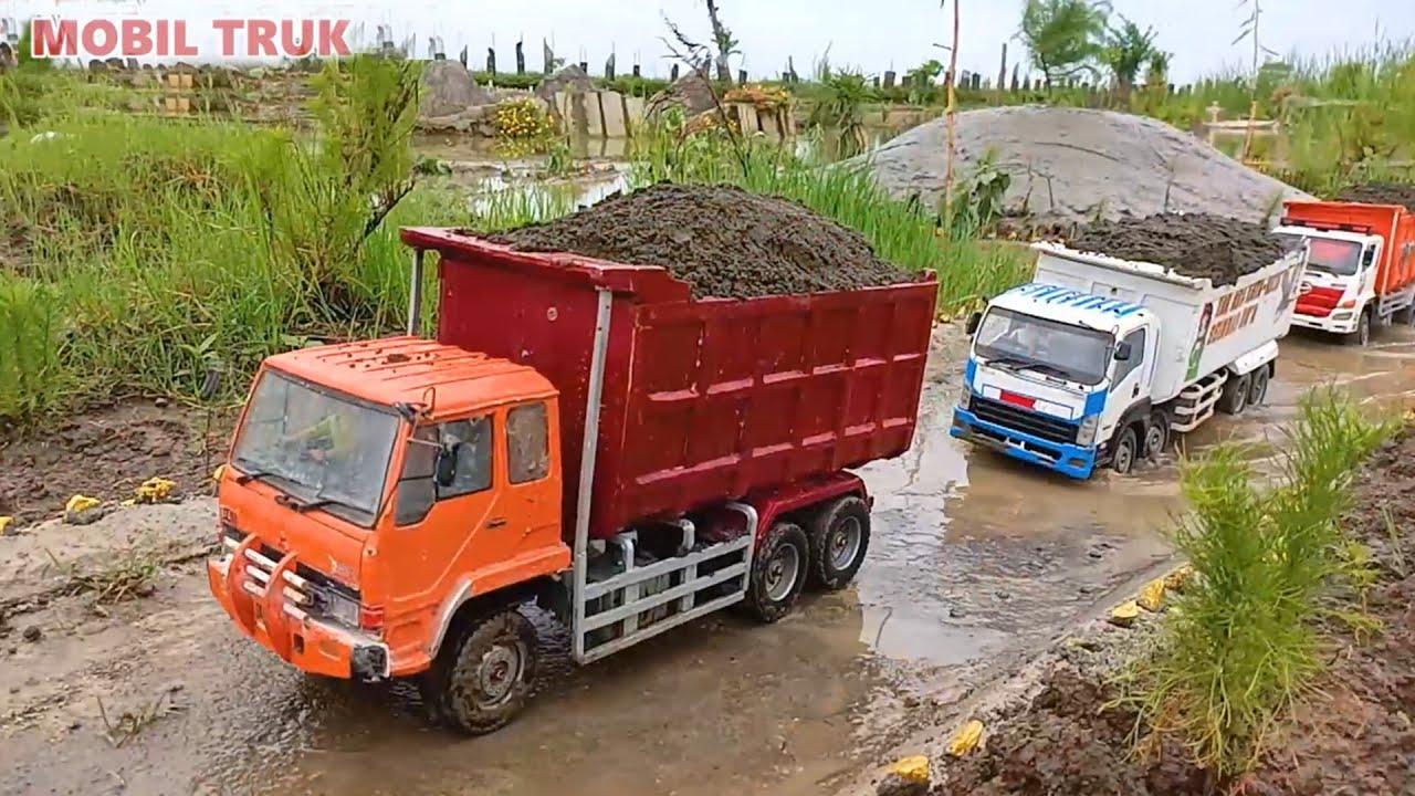 TERGULING DI PINGGIR JEMBATAN MOBIL TRUK TRINTON ISUZU GIGA MINIATUR RC - DUMP TRUCK FUSO
