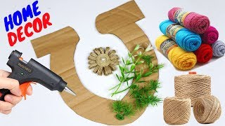 Easy Wall Decorating Ideas Using Jute   Most Beautiful Jute Craft Idea !!! Best Out of Waste