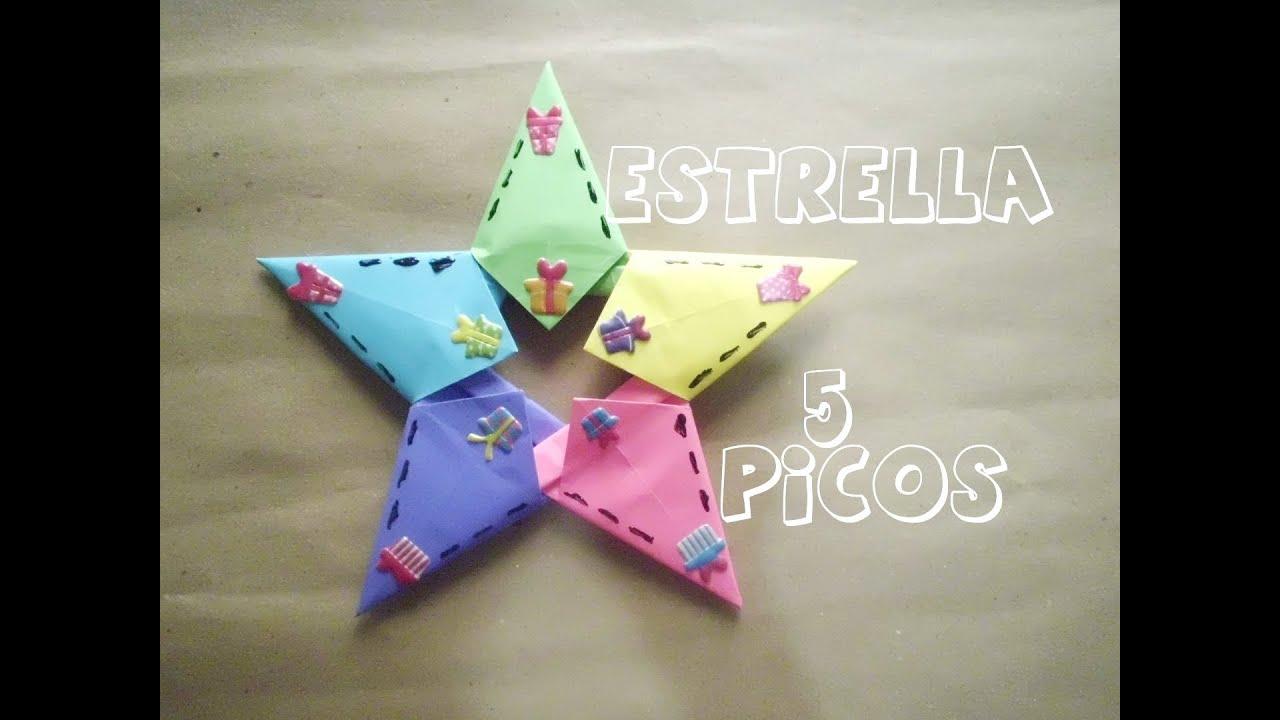 Estrella de papel 5 picos youtube - Estrellas de papel ...
