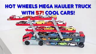Hot Wheels Mega Hauler Truck loaded with 57 cool cars! For kids to learn!