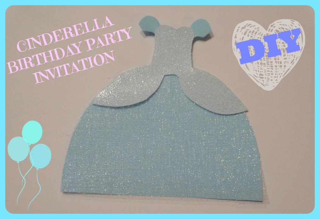 Cinderella dress birthday invitiation tutorial youtube for Where can i buy party invitations