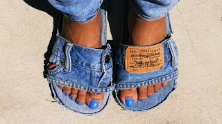DIY LEVI DENIM SLIDES || Easy & Simple || #LKGang