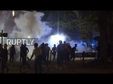 USA: Tear Gas And Explosions Abound At Portland Protest