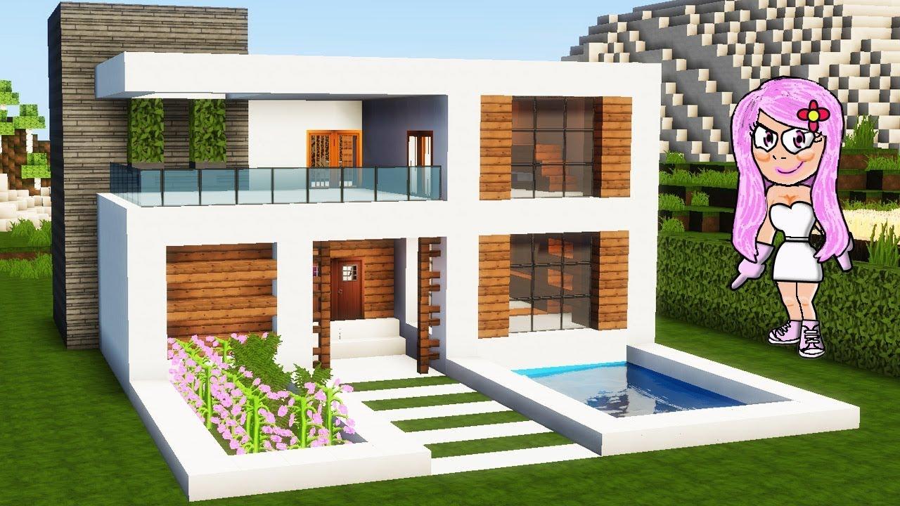 C mo hacer una casa de hormig n en minecraft f cil youtube for Casa moderna 9 mirote y blancana