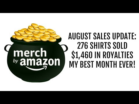 Merch by Amazon August Sales Update $1460 in Royalties 276 Shirts Sold!