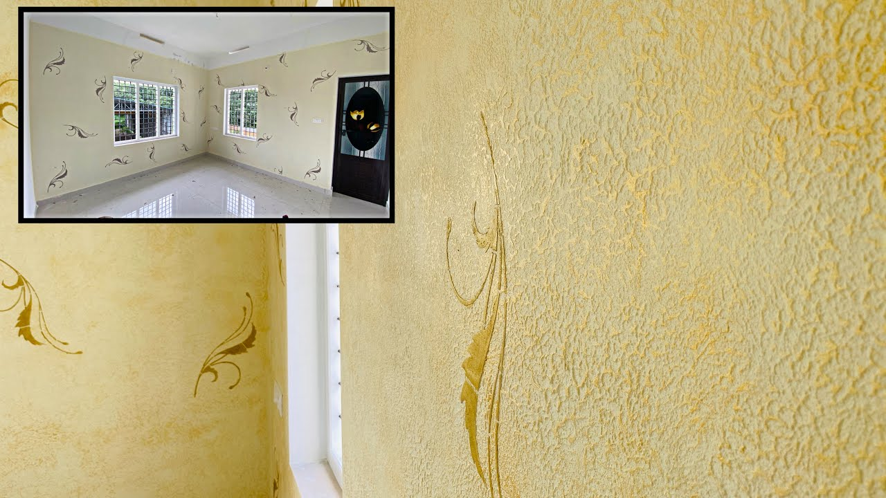 Wall texture putty punching stencil designing simply