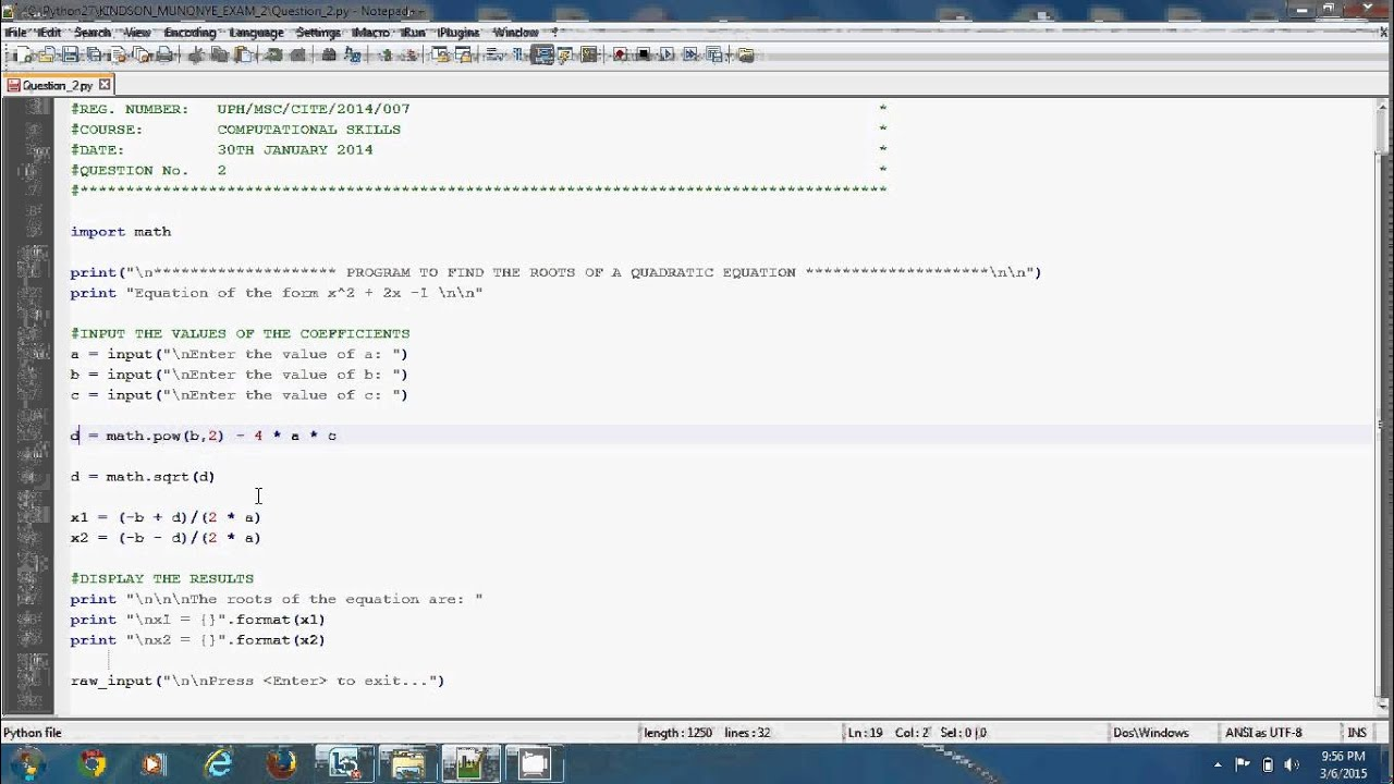 Simple Easy Quadratic Equation In Python Programming