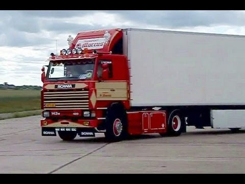 SCANIA 143 V8 WITH LOUD PIPE Morcus Transport NICE OLD SCHOOL TRUCK