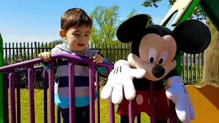 Playing with Mickey Mouse at the Playground riding on Cozy Coupe Cab