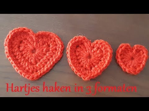 haken ♥ hartjes in 3 formaten - youtube
