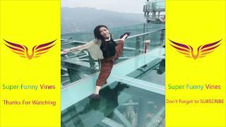 China Glass Bridge   Funny Moment-People are terrified to cross   Glass Bridge China