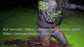 WetLook 200 girl in wet jeans and rubber boots in a deep swamp