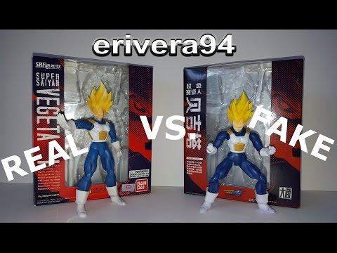 Datong vs. Bandai S.H. Figuarts Super Saiyan Vegeta Comparison Figure real and fake bootleg