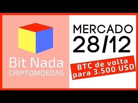 Mercado de Cripto! 28/12 Bitcoin de volta para os 3.500 USD / Litecoin / Ontology