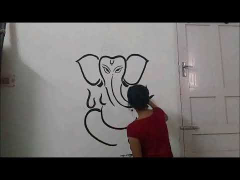 Simple Ganesha Wall Painting No Stencils