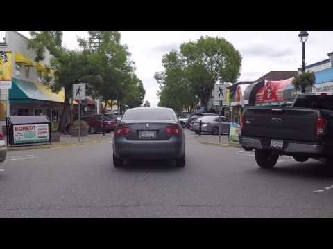 Langley BC Canada - Driving In Downtown - One Way Street - Shopping & Restaurants