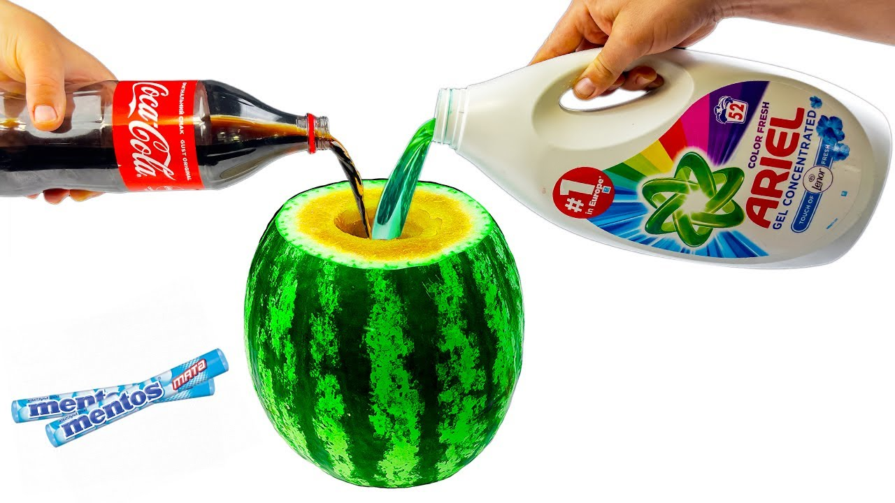 Watermelon Test Coca Cola Fanta Pepsi Mirinda and Mentos Test 2021