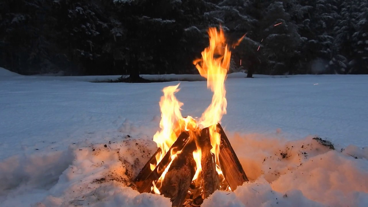 Relaxing Crackling Campfire in a Forest Snow - 3 Hours - YouTube
