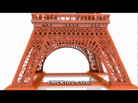 Laser Cut Eiffel Tower: 3D Assembly Animation (1080HD)
