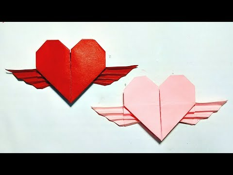 How to make Paper Heart Wings    Origami Heart Wings    DIY
