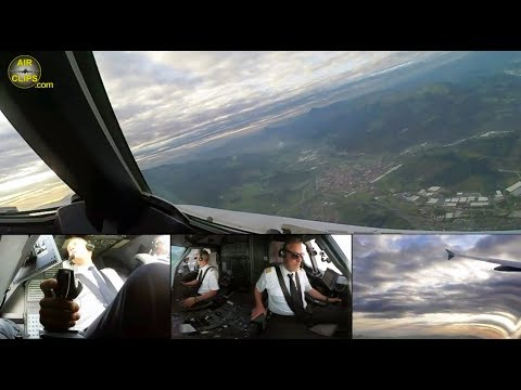 BREATHTAKING Lufthansa A320 HEAVY MOUNTAIN TOGA-Takeoff from Bilbao, Spain!!! [AirClips]
