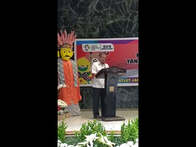 Laporan Ketua Umum KONI DKI Djamhuron P Wibowo saat melepas atlet asal Jakarta