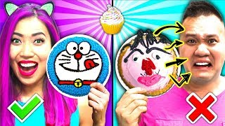 The Cupcake Art Challenge!!! Learn to Draw Goku and Doraemon! (CC Available)