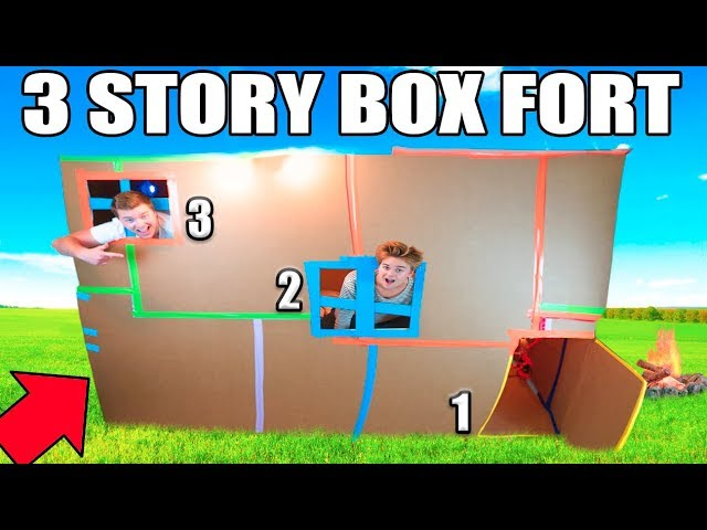 3-story-box-fort-mansion-24-hour-challenge-tv-gaming-room-kitchen-more
