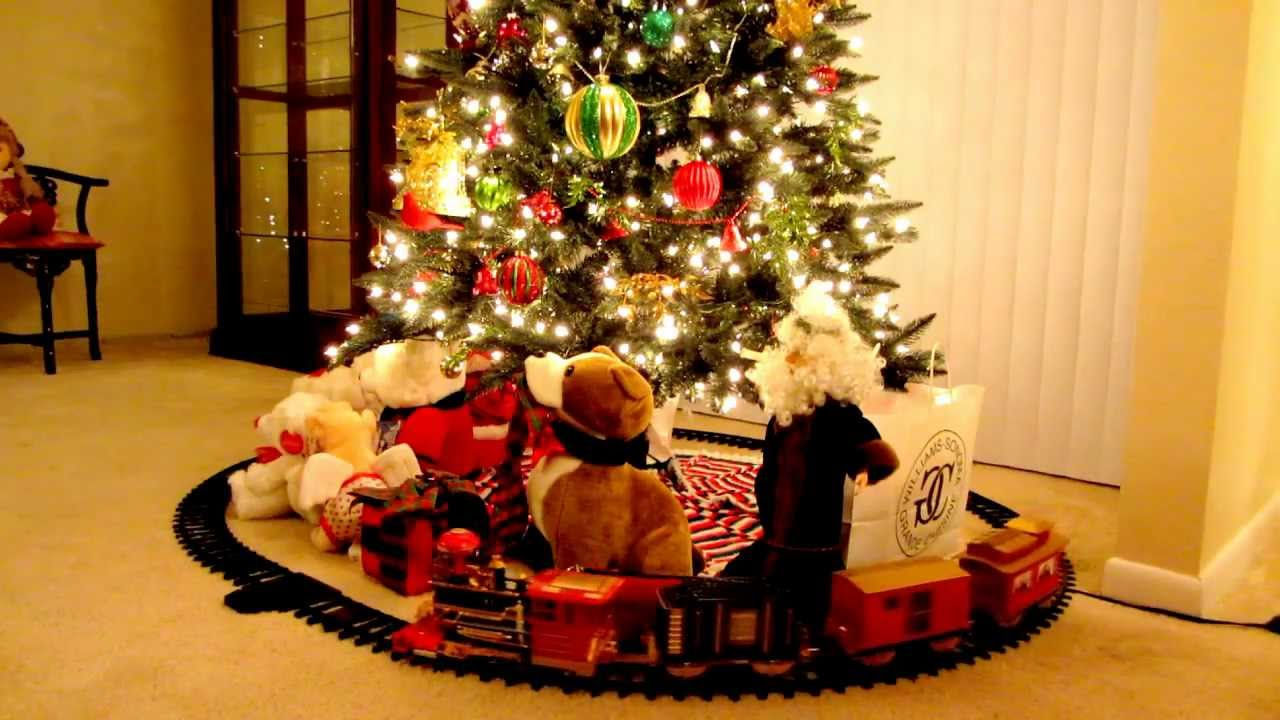 choo choo train under the christmas tree