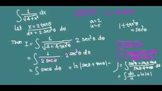 integration by trig substitution 1 over square root of 4 x 2