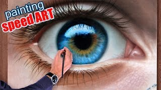 How To Draw a realistical Eye painting in dry brush (Speed Drawing) malen zeichnen