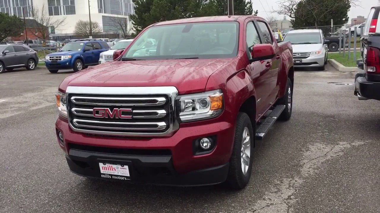 2017 gmc canyon sle 4wd crew cab running boards red oshawa on stock 171064 youtube. Black Bedroom Furniture Sets. Home Design Ideas