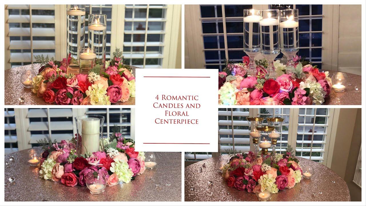 Diy Romantic Candles Wedding Floral Centerpiece Diy Table Wedding