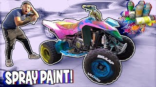 SPRAY PAINTING MANNY'S QUAD PINK ! (IT'S WAR !) | BRAAP VLOGS