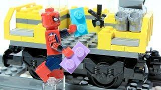 SPIDERMAN Brick Building LEGO TRAIN Locomotive Animation