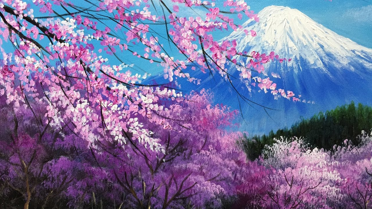 The cherry blossoms in the Mt. Fuji Acrylic Painting ...