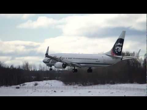 Alaska Airlines Boeing 737 Landing Anchorage Ted Stevens Airport, Alaska