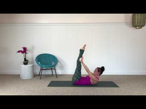 CarriePagesPilates.com  Pilates mat class with a towel as a prop