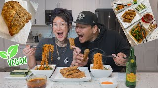 how to make bomb vegan EGGROLLS!!! + fire noodles 😛