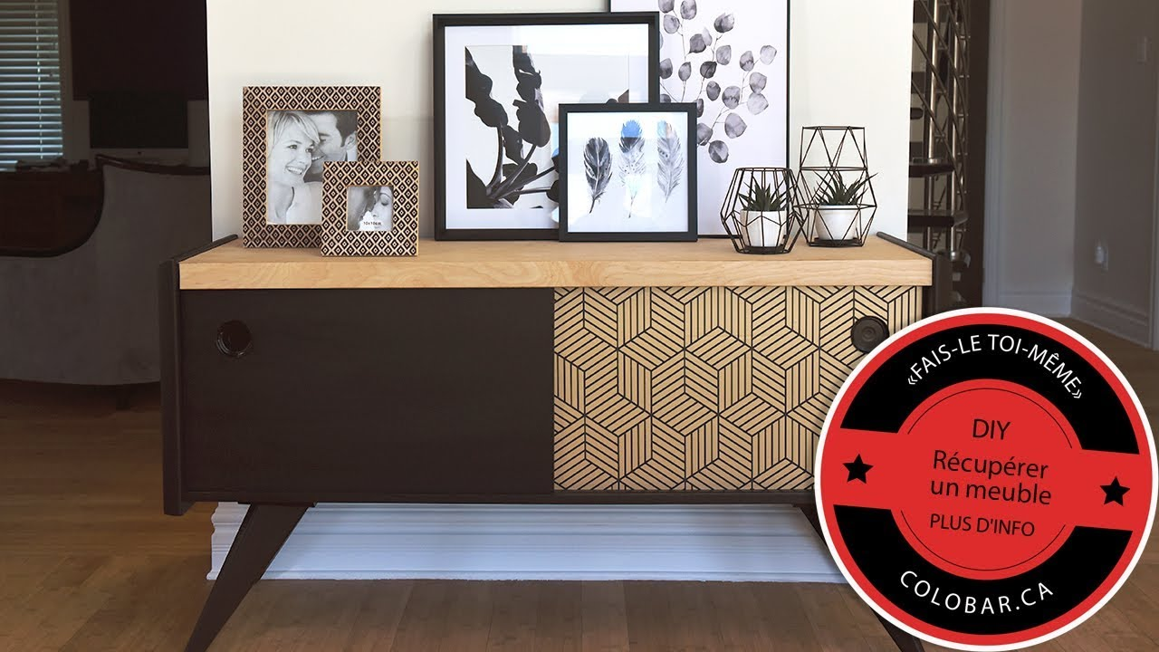 diy recuperer un meuble avec de la peinture et du papier peint autocollant