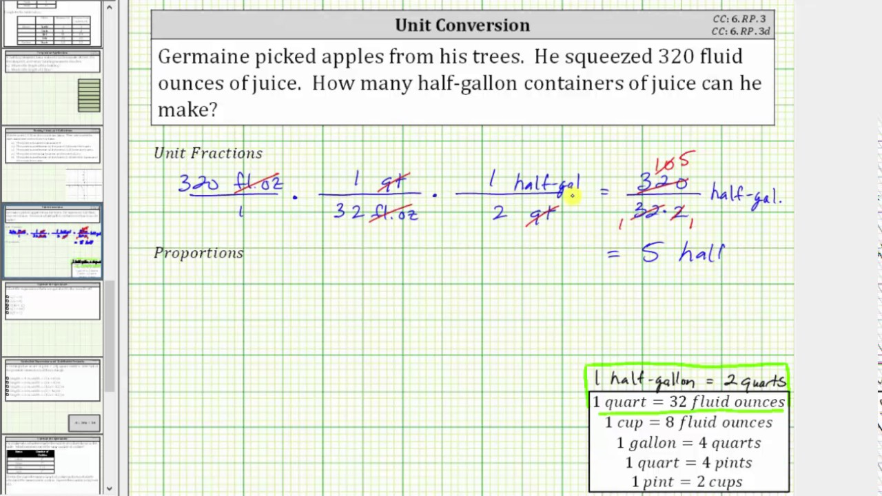 Convert Fluid Ounces to Half-Gallons Using Unit Fractions ...