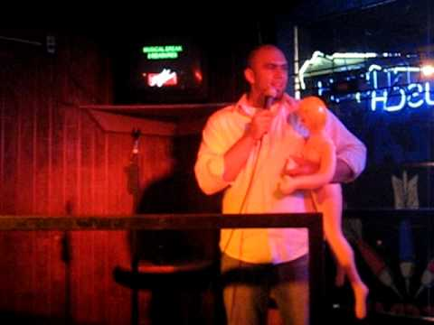 drunk with a blowup doll, singing karaoke