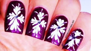 White Drag marble Nail Design on Purple Nails – Nail art Tutorial